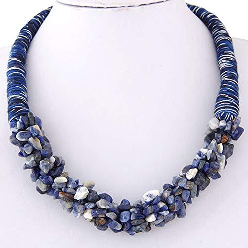 Collares para mujeres, Bohemia multicapa piedra colgante corto declaración collar joyería regalo - azul marino