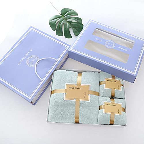 3 Piezas Toalla Juego,Conjunto de caja de regalo de toalla, toalla de baño Terciopelo de coralizador de tres piezas-Azul de frijol 1_70 * 140 cm + 34 * 73cm,Toalla de Secado rápido multipropósito