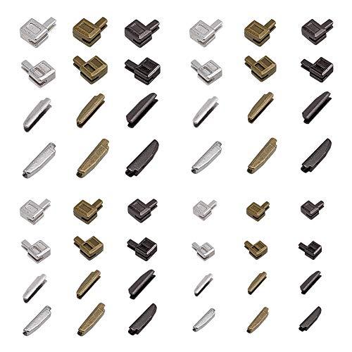 PandaHall 12 Juegos de Cierre de Cremallera de Metal, retenedor Deslizante de 3 Colores # 3# 5# 8# 10 Pin de inserción Cremallera Inferior tapón de Cremallera para reparación de Cremallera