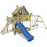 WICKEY Smart Trip - Torre de juegos para escalada con columpio y tobogán azul,...