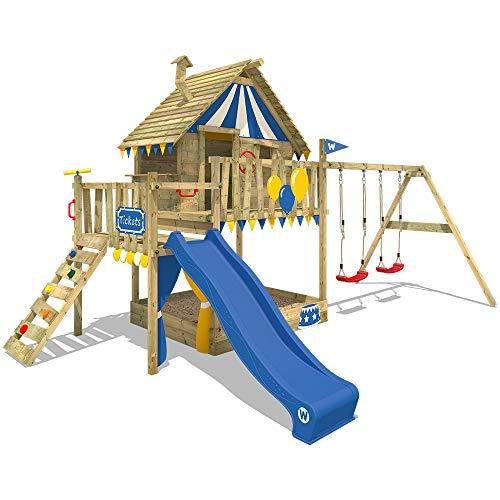 WICKEY Smart Trip - Torre de juegos para escalada con columpio y tobogán azul, caseta con caja de arena, escalera y accesorios de juego