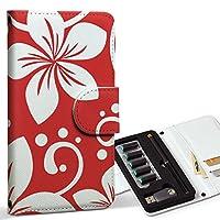スマコレ ploom TECH プルームテック 専用 レザーケース 手帳型 タバコ ケース カバー 合皮 ケース カバー 収納 プルームケース デザイン 革 フラワー 花 フラワー 赤 004329