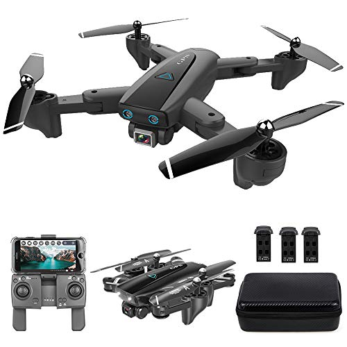 GoolRC CSJ S167 GPS Drone, 5G WiFi FPV RC Drone with Camera 4K HD Gesture Photos Video, Auto Return Home, Altitude Hold, Follow Me RC Quadcopter for Adults with 3 Batteries and Handbag