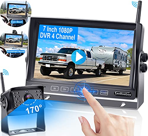 Wireless Backup Camera,HD 1080P with 7 Inch Touch Button Screen,High-Speed Rear View Observation DVR System for RVs,Travel Trailers,Trucks,Campers,High Refresh Rate No Signal Delay LeeKooLuu-LK5