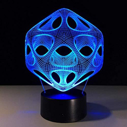 Lámpara De Mesa Led 3D Con Cambio De 7 Colores, Luz De Noche Con Altavoz Bluetooth Abstracto Usb Para Regalo De Niños, Decoración Del Hogar