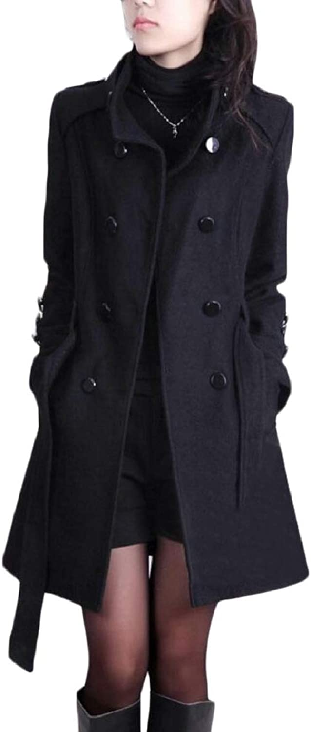 PujinggeCA Womens Stand Collar Overcoat Wool Blend Double Breasted Jacket Outwears