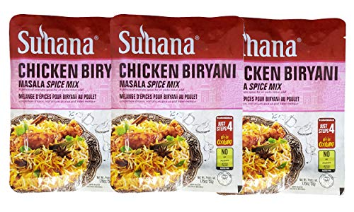 Suhana Indian Masala Spice Chicken Biryani Curry Mix (3 Pack, Total of 8.43oz)