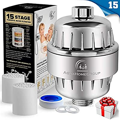 AquaHomeGroup 15 Stage Shower Filter with Vitamin C for Hard Water - High Output Shower Water Filter to Remove Chlorine and Fluoride - 2 Cartridges Included -Consistent Water Flow Showerhead Filter