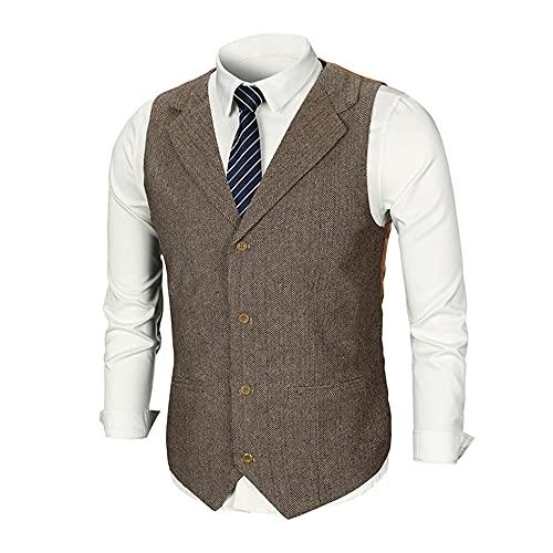 Chaleco sin mangas con cuello en V para hombre, para negocios, ocasiones formales, bodas, fiestas