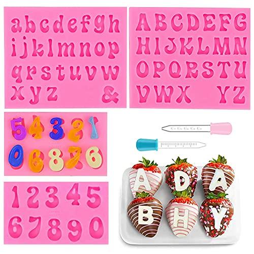 Set di 4 stampi in silicone con lettere e numeri per cioccolato, con 2 contagocce fai da te, decorazioni per dolci, cioccolato, cubetti di ghiaccio (rosa)