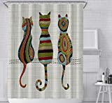 JOVEGSRVA Cortina de ducha para gatos, impermeable, con 12 ganchos, 180 x 180 cm