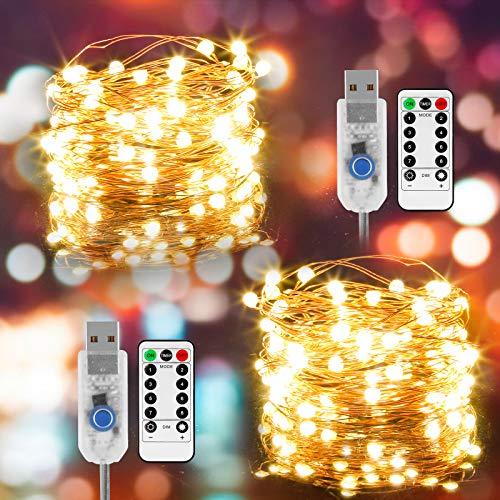 Guirnalda de Luces de Hada, [Nueva versión] 2 piezas Luces de Hadas USB 80LED con cuentas de lámpara SMD2835, Cadena de Luces LED con Control Remoto para Fiestas, Navidad, bodas, Jardín, Patio