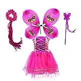 Tante Tina Disfraz de hada de mariposa para niña, 4 piezas, con vestido de tul, alas, varita mágica y diadema, adecuado para niños de 2 a 8 años, color fucsia