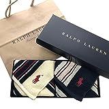 Ralph Lauren ラルフローレン ハンドタオル タオルハンカチ ギフトBOX付きハンドタオル2枚セット (ランダムストライプセット)