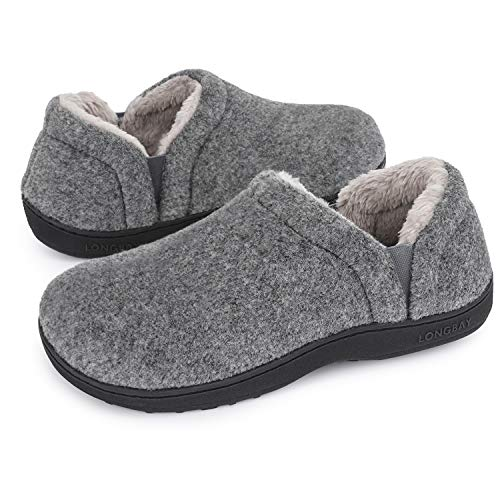 LongBay Men's Cozy Memory Foam Slippers Comfy House Shoes (Medium / 9-10, Light Grey)