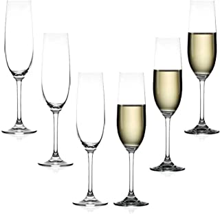 Crystal Glass Champagne, Classic Goblet, Champagne Flute, Effervescent Point, 10 oz (Set of 6)