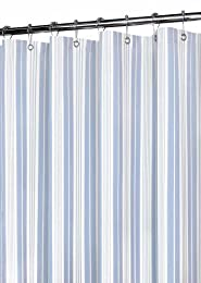 pastel blue calm and peaceful vertical striped shower curtain