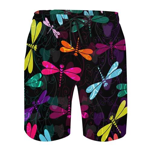 LoveKunYu Mens Swim Trunks Mesh Shorts Bathing Suit Teen Boy Swimming Boardshorts Damask Flower Dragonfly Colorful