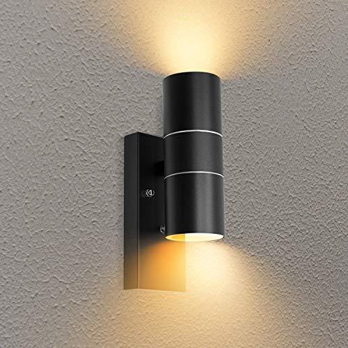 Lámpara LED exterior con interruptor crepuscular IP44, resistente al agua GU10, moderna lámpara de pared con 2 bombillas LED GU10 de 5 W, blanco cálido, 1 unidad.
