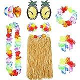 8 Stück Hawaiian Hula Grass Rock Set mit Halskette Armbänder Stirnband Blume BH Haarspange und...