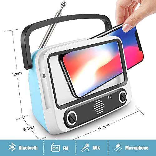 Altavoz Portátil con Radio FM - Bluetooth, Micrófono Incorporado, AUX entrada, Subwoofer inalámbrico - Altavoz recargable, USB entrada, lector de tarjeta, Aporta Manos Libres para smartphones, tablets