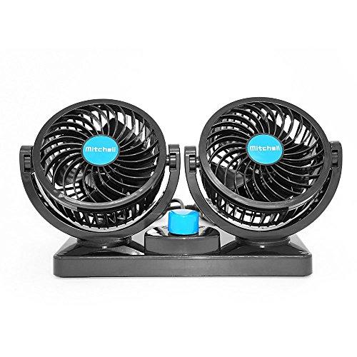 Xcellent Global, doppio ventilatore per auto girevole, silenzioso, sicuro per i bambini, 12 V, AT015