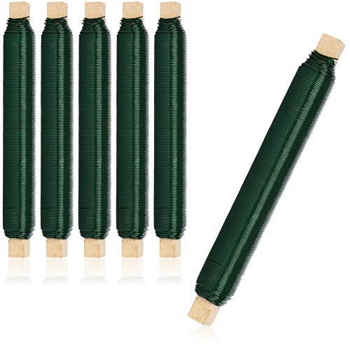 com-four® 6X Blumenwickeldraht-Set, Bindedraht in grün auf Holzstab gewickelt, Stärke 0,65 mm, 600 g