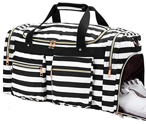 Weekender Overnight Duffel Bag Shoe Pocket for Women Men Weekend Travel Tote Carry On Bag (Stripe Black -2cm)