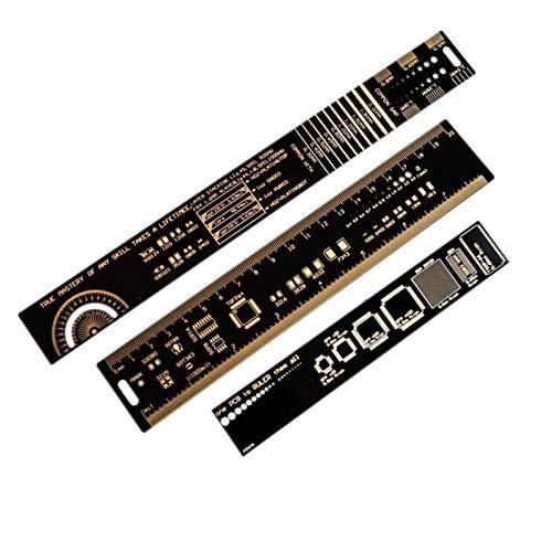 LKK-KK 1SET 15 cm 20 cm 25 cm PCB Multifuncional Regla de la Herramienta de medición de la Herramienta de la Resistencia del Condensador IC IC SMD DIODE Transistor Paquete 180 Grados 1