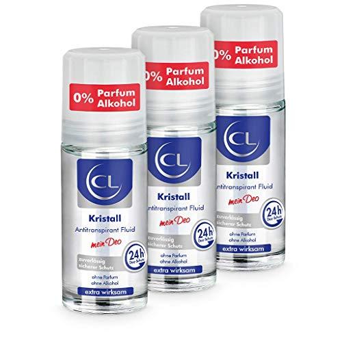 CL Kristall Antitranspirant gegen starkes Schwitzen - 3er Pack 50 ml Anti Transpirant Deo Roller bietet 24 Stunden Schutz bei empfindlicher Haut - Kristall Deoroller Herren & Damen - Deodorant Männer