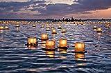 Toner Depot Water Floating Candle Lanterns Outdoor Biodegradable Lanterns for Praying Set of 10 (4.3 inch)