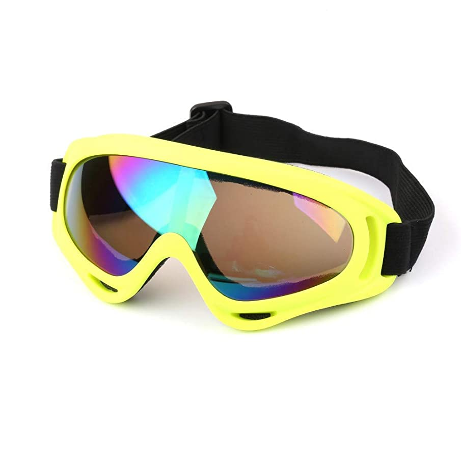 Exquisite Goggles Men Women Bendable Professional Windproof X400 Uv Protection Sports Ski Glasses Snowboard Skate Skiing Goggles (Color : Yellow Colorful)