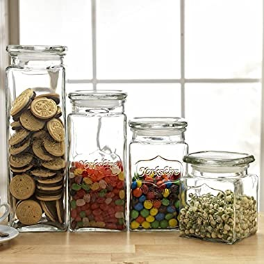Set of 4 Glass Canister Jars with Air Tight Lids for Kitchen or Bathroom, Food, Cookie, Cracker, Storage Containers, Square, Clear 28, 44, 57, and 80 Oz