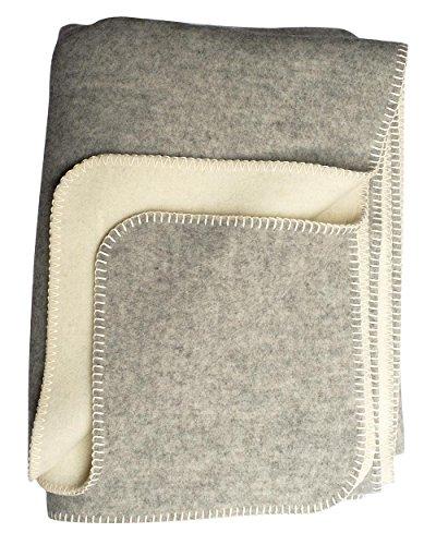 Steinbeck Doubleface-Decke Ökolana aus 100 % naturbelassener Schurwolle, in 4 Größen und 3 Farben, Grau/Weiß Größe 150x200 cm
