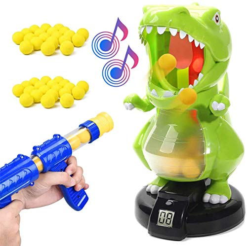 KOVEBBLE Dinosaur Toy Guns for Boys/Girls Shooting Games with Electronic Target Party Cool Toys with LCD Score Record Sound 36 Soft Foam Ballsfor Kids Age 5 6 7 8 9 10 Single Gun