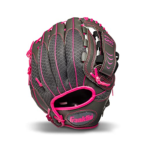 Franklin Sports Teeball Infinite Web/Shok-Sorb Combo Series Fielding Left Hand Glove, 10.5-Inch, Graphite/Pink