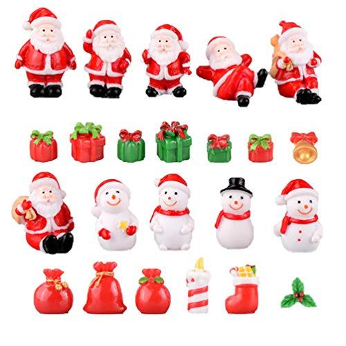 Garneck 23 Pezzi Ornamenti in Miniatura di Natale Pupazzo di Neve in Resina Regalo di Natale Babbo Natale Accessori da Giardino Fata Decorazione casa delle Bambole (Stile Misto)