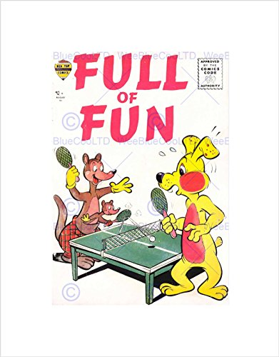 AJAX Retro Comic Book Cover Full Fun PING Pong Black Framed Art Print B12X4887