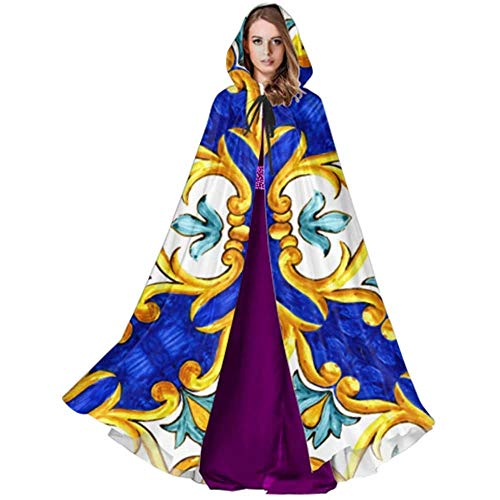 Zome Lag Devil Witch Wizard Cloak,Halloween Cosplay Costume,Party Wizard Cape,Cloak With Hood,Ornament On Italian Tiles Majolica Cyan Adult Cape Cloak Cosplay Hooded Cloak