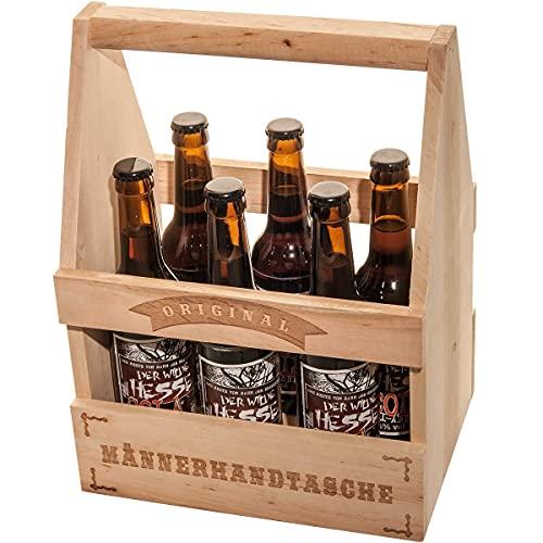 Spruchreif PREMIUM QUALITÄT 100% EMOTIONAL · Flaschenträger Holz Bier 6er Träger · Bierträger mit beidseitiger Gravur · Männerhandtasche · Träger Bierflaschen · Geschenke für Männer · Geschenk Mann