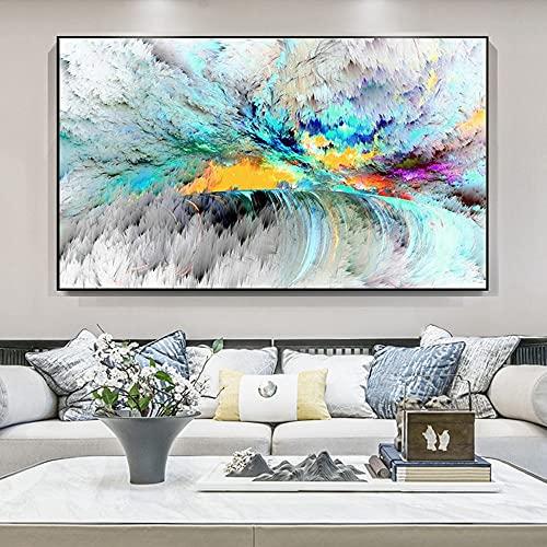 Nubes blancas abstractas modernas con carteles de luz de colores e impresiones pinturas en lienzo cuadros artísticos de pared para la decoración de la sala de estar 30x55 CM (sin marco)