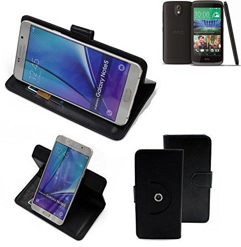 K-S-Trade Case Schutz Hülle Kompatibel Mit HTC Desire 526G Dual SIM Handyhülle Flipcase Smartphone Cover Handy Schutz Tasche Bookstyle Walletcase Schwarz (1x)