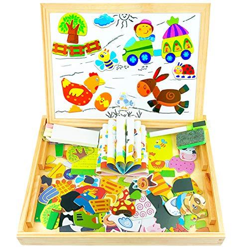 Creen Magnetisches Holzpuzzle mit Doppelseitiger Tafel, Holzspielzeug Kinder Holz Magnetpuzzle Pädagogisches für Jungen Mädchen Kleinkind Geschenke 5 6 7 8 Jährige Lernspielzeug für Kinder 3 4 5 Jahre