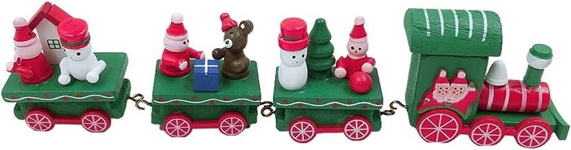 TOYMYTOY Christmas Train Decorations Wooden Mini Train Toys with Snowman Santa Claus Xmas Tree Christmas Table Decorations...
