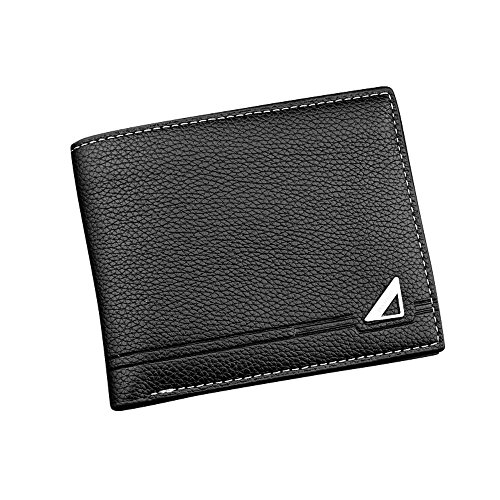 iVotre Short Wallet for Men, Tri- fold Design with Multi-Card Slots, PU Leather, Brand New and Fashion, Excellent Hardware, Ultra Slim Purse, Best Gift - Black