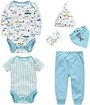 مجموعة ملابس أطفال من wuawua للجنسين بدلة أطفال مكونة من 6 قطع هدية لطفلك: قبعة أطفال وسروال وقبعات وقفازات ومنشفة مثلثة