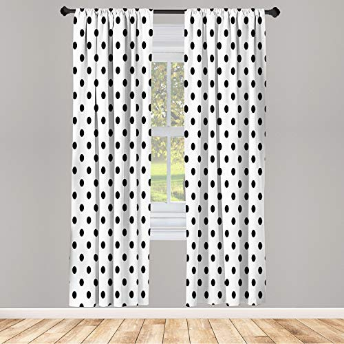 """Ambesonne Polka Dot Window Curtains, Classic Old Fashioned Repeated Circles Round Forms Retro Illustration, Lightweight Decorative Panels Set of 2 and Rod Pocket, 56"""" x 63"""", Black White"""
