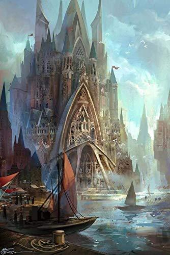 Adoff Puzzle de 1000 piezas, diseño de ciudad de fantasía, regalo para los amantes del juego de habilidad para los maderas