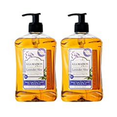 This bundle includes two 16.9 oz bottles of A La Maison de Provence Lavender Aloe Hand and Body Soap Traditional French Milled Ultra Moisturizing With Olive & Argan Oils For Sustainability & Biodiversity - Palm Oil Free Cruelty Free, Biodegradable