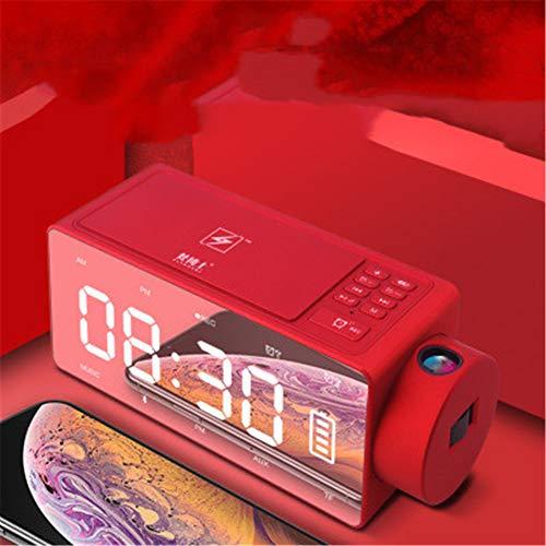 WANDE S91S Altavoz Despertador, Creadora De Cabecera Altavoz Inteligente, Inteligente De Carga Inalámbrica Despertador Digital, La Proyección del Reloj del Altavoz,Rojo